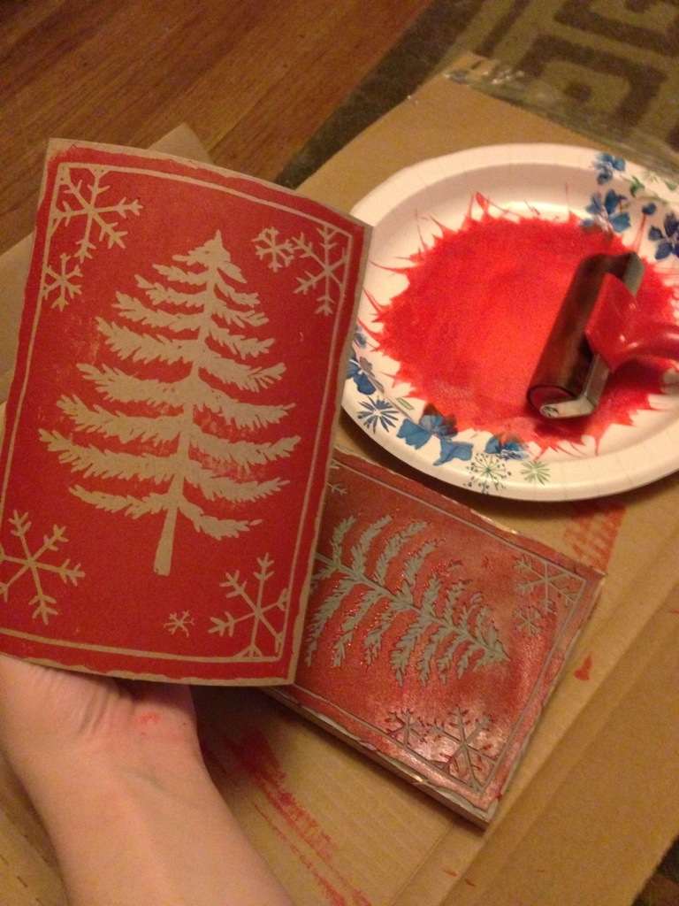 Handprinted Christmas Cards